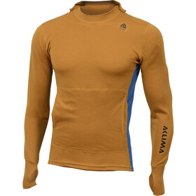 Aclima WarmWool Hood Sweater Herre sudan brown/blue sapphire
